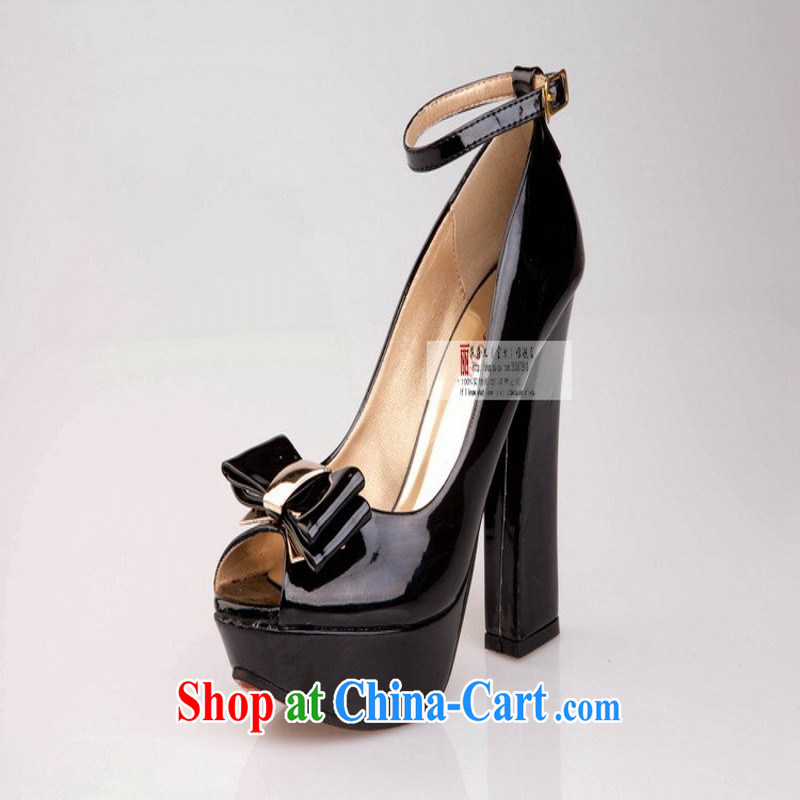 2014 new, bold with waterproof single fish mouth shoes high heel shoes, shoes Women's shoes spring and summer to lb some HX 210 black 9