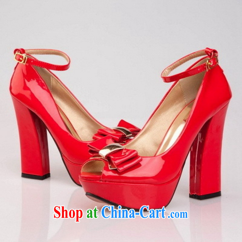 2014 new, bold and water-resistant single fish mouth shoe high-heel shoes, shoes Women's shoes spring and summer to lb some HX 210 black 9, so Pang, shopping on the Internet