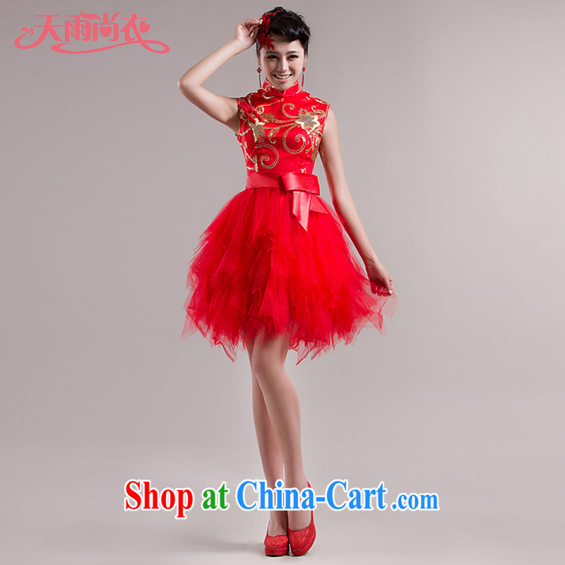 Rain is still clothing and stylish new bridal wedding dresses short improved modern marriages wedding dresses qipao QP 535 red L