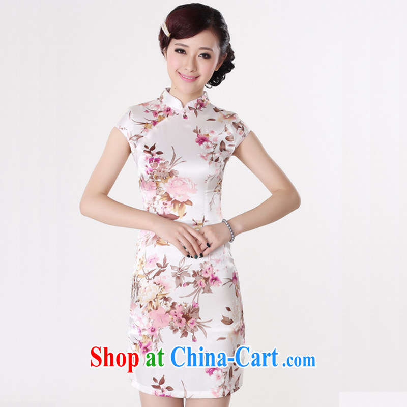 Take the 2014 summer new female cheongsam Chinese improved, for a tight silk hand-painted Chinese Antique short cheongsam white S