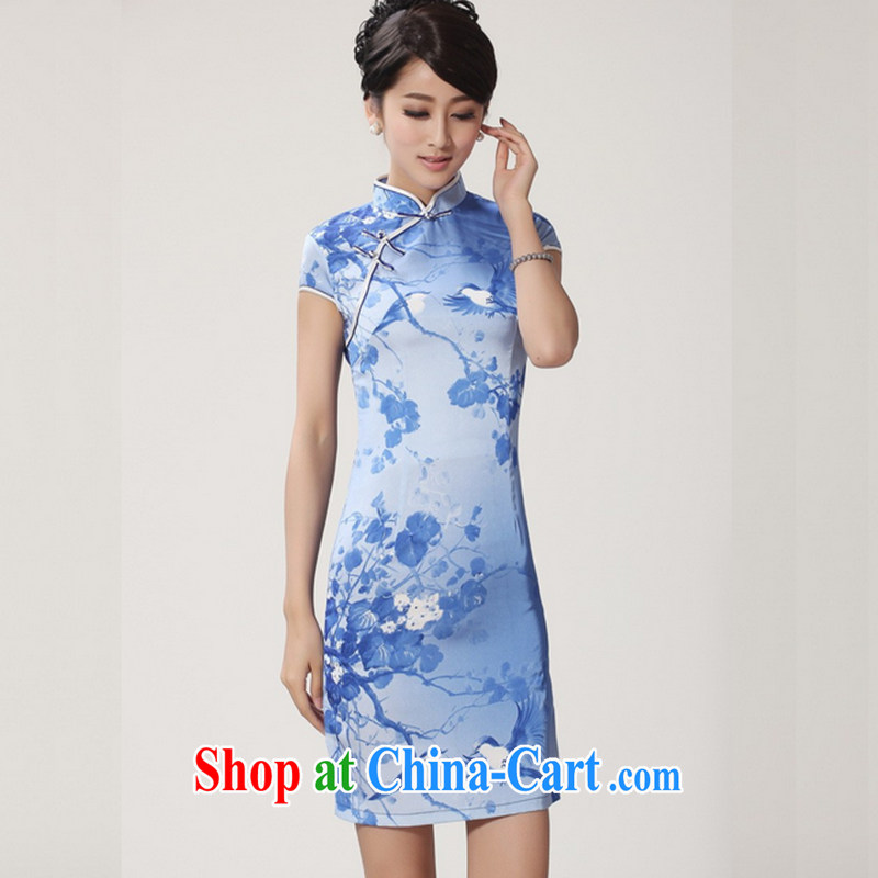 Take the 2014 new summer Stylish retro, for hand-painted a tight short-sleeved Chinese improved cheongsam - 4 sky blue 2 XL