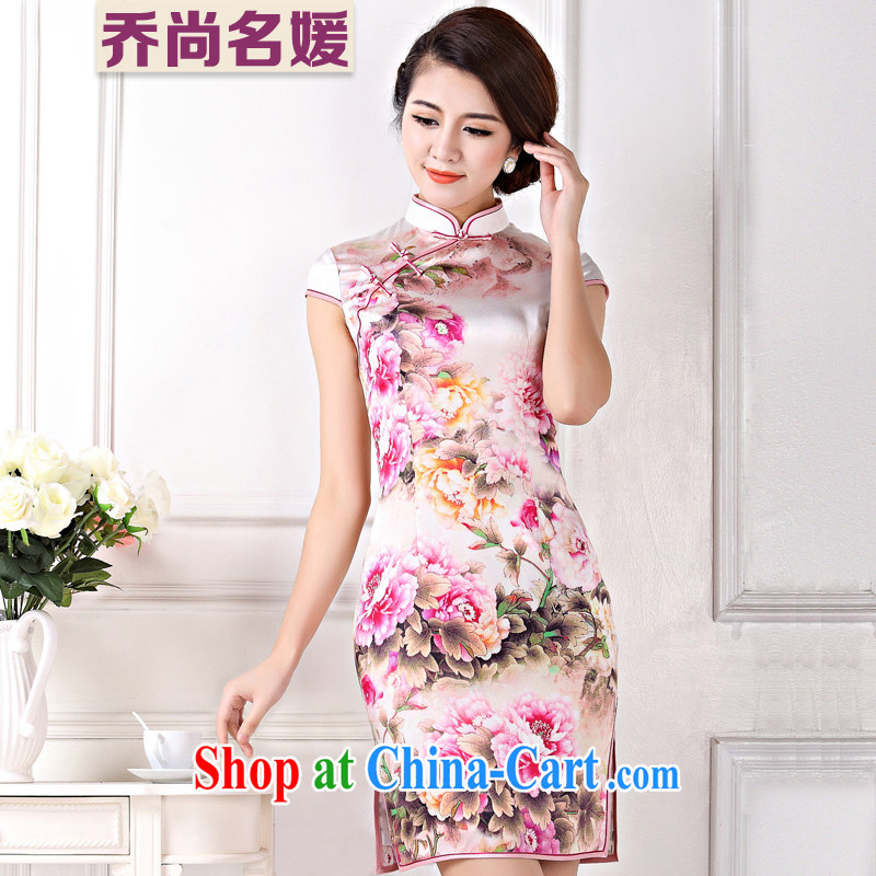 Silk Cheongsam upscale wedding summer improved banquet sauna silk short C 335 days aroma Peony M