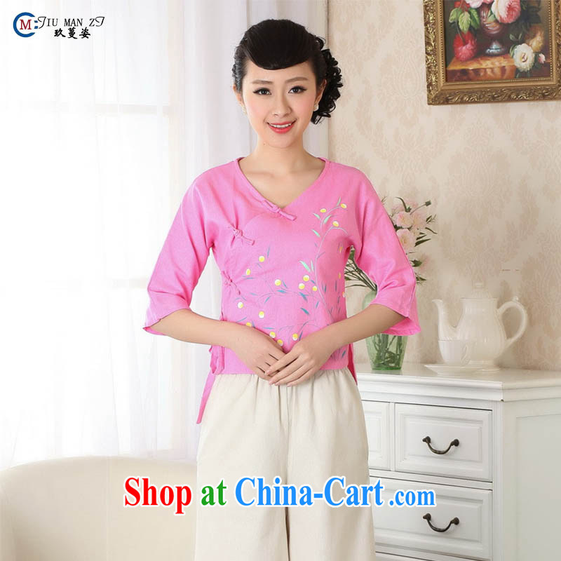 Ko Yo vines into exciting and 2015 new spring and summer Cotton High Commission National wind 5 cuff cheongsam shirt short Tang Women's clothes A 0053 dark pink 175_2 XL