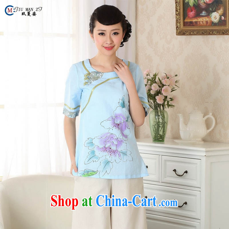 Ko Yo vines into exciting and 2015 new spring and summer Cotton High Commission National wind 5 cuff cuff cheongsam shirt Short round-collar Tang replace A 0055 blue 175_2 XL