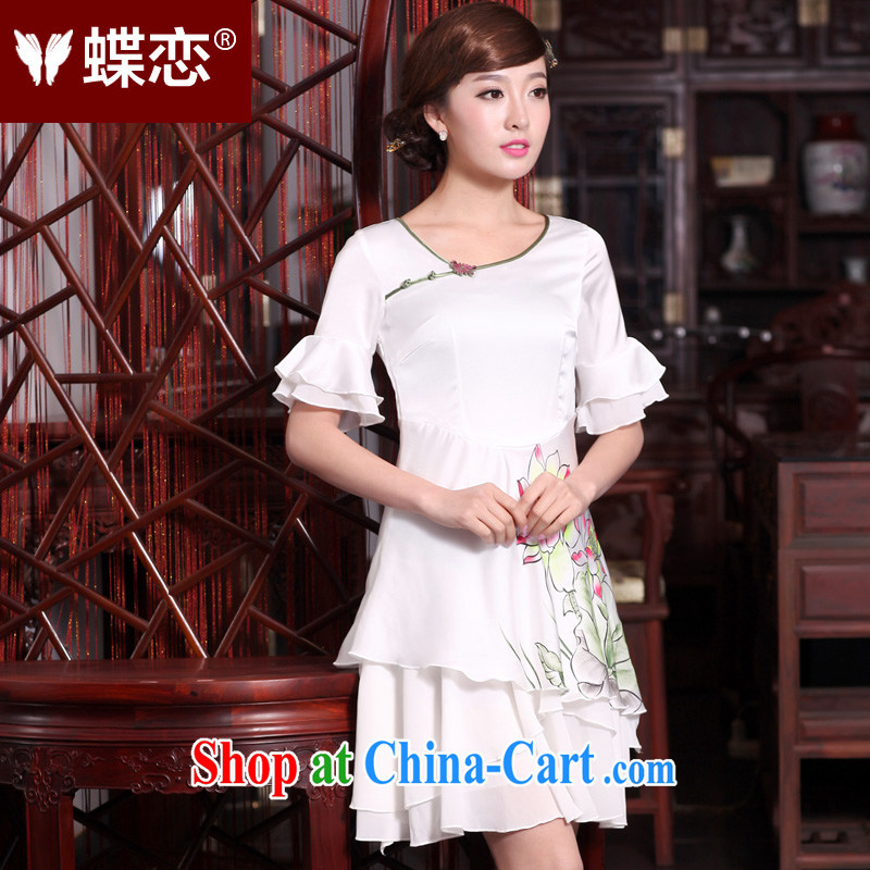 Butterfly Lovers spring 2015 new, improved cheongsam dress national hand-painted Lotus cultivating snow woven dresses female 30,678 white XXL