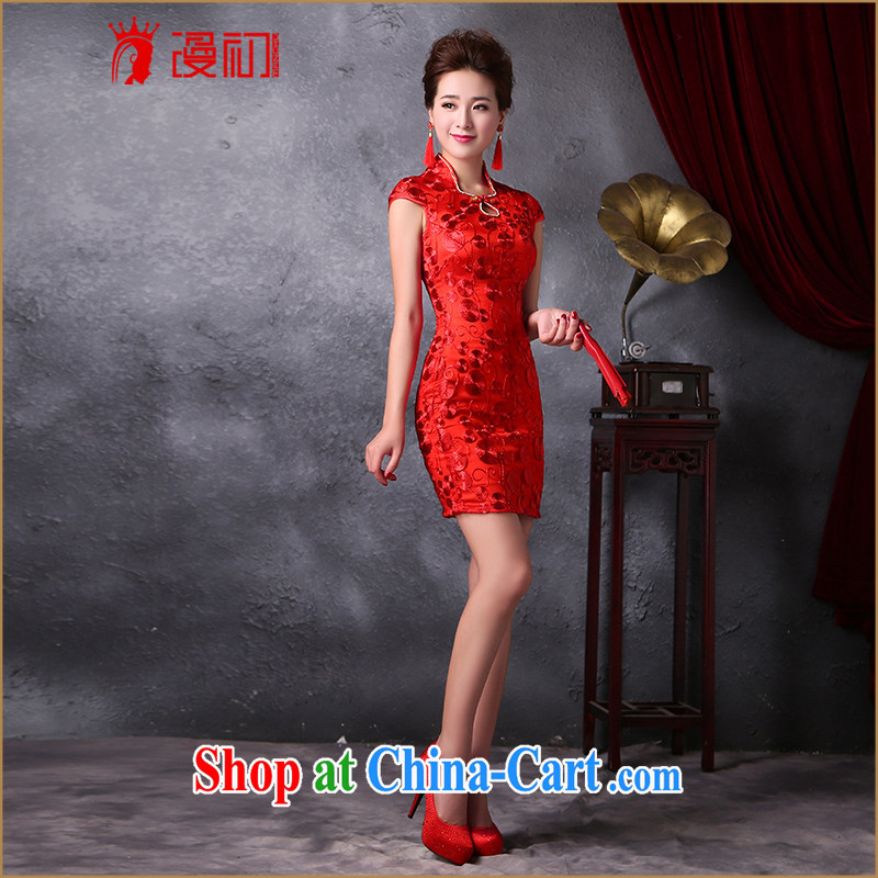 Early spread modern improved bridal dresses 2015 new Korean Beauty graphics thin lace short cheongsam dress uniform toasting red L