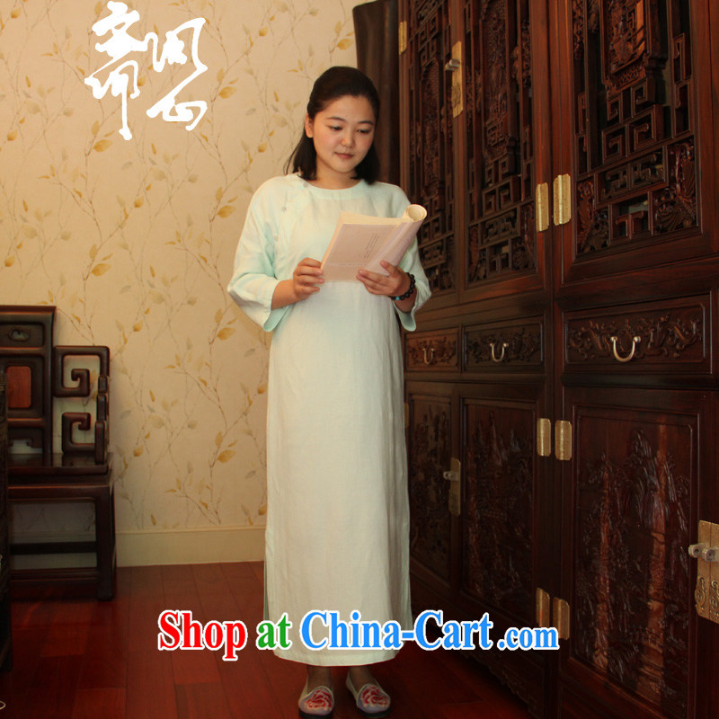 Ask a vegetarian autumn new pixel color series Chinese wind improved dressing gown skirt qipao gown linen WXZ 16 light mint green are code manually set to take the next 15 days