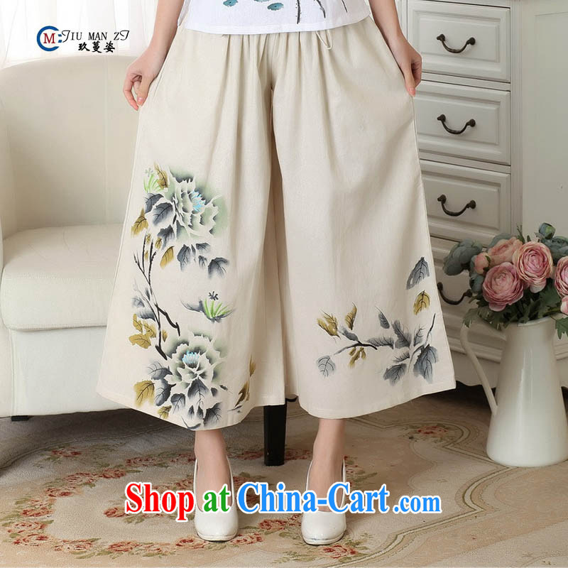 Capital city sprawl, Ms. Tang 9 pants older fat MOM spring and summer with the Code horn wide leg cotton the Chinese Ethnic Wind P 0013 m White L_ 1-foot 85 - 4 feet 2