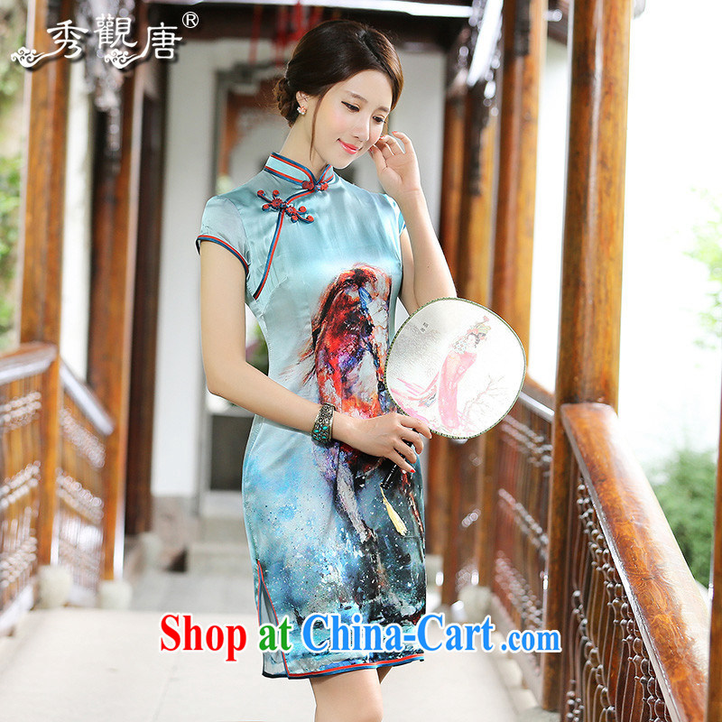 The CYD HO Kwun tong] Creek Hyatt 2015 summer new retro Silk Cheongsam the forklift truck stamp fashion cheongsam dress QD 4522 cyan XXXL