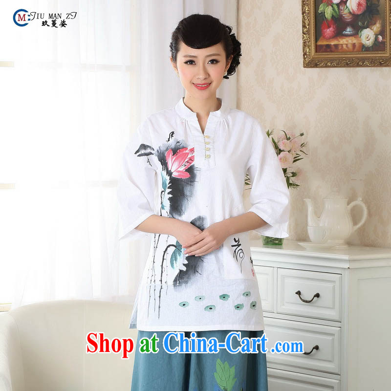 Ko Yo vines into exciting and 2015 new spring and summer for the 9 sub-cuff gauze cotton the cheongsam quality load Tang mounted A 0057 white 175_2 XL