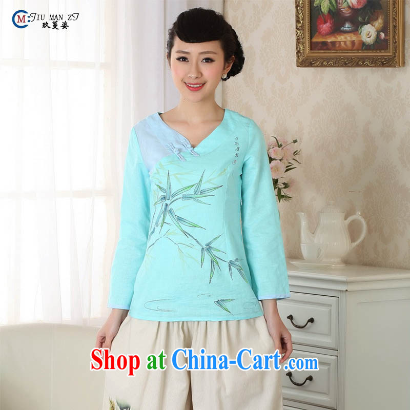 Ko Yo vines into exciting and 2014 new spring and summer classic loaded V collar 9 cuff natural cotton MA the cheongsam quality women Tang mounted A 0059 blue 160_M