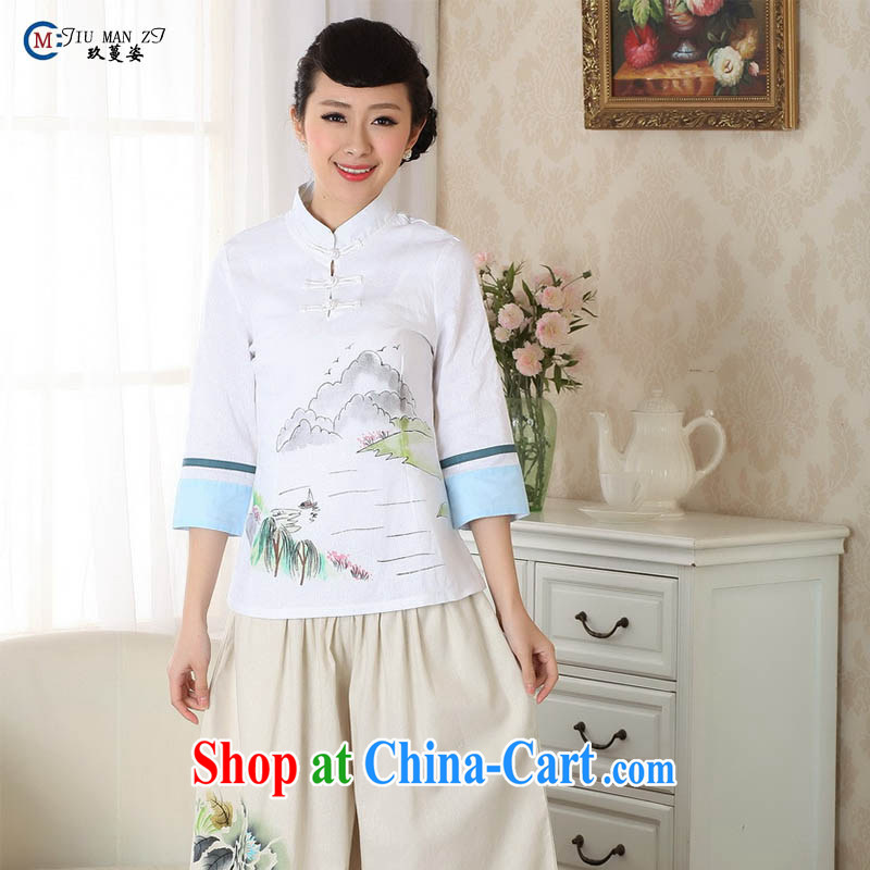 Ko Yo vines into exciting and 2015 new spring and summer for the 7 sub-cuff natural cotton MA the cheongsam quality Chinese shirt A 0060 white 155_S
