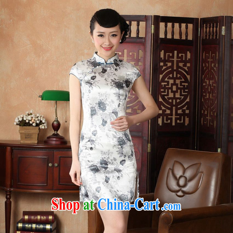 Take the 2014 summer new outfit, Ms. Tang with Chinese improved, for a tight silk hand-painted retro short cheongsam J J 5139 5139 gray XL