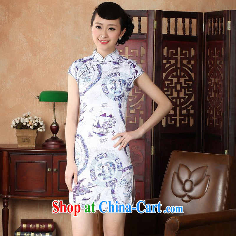 spend the summer with new female elegant Chinese improved, for a tight cotton hand-painted Chinese Antique short cheongsam white D 0226 2 XL