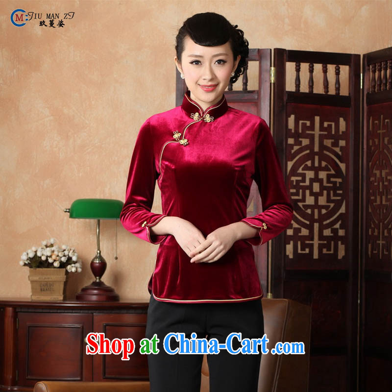 Ko Yo Mephidross 201 colorful new Spring Summer classic, short-sleeved velvet cheongsam Chinese-tie Chinese T-shirt A 0064 deep red 180_3 XL