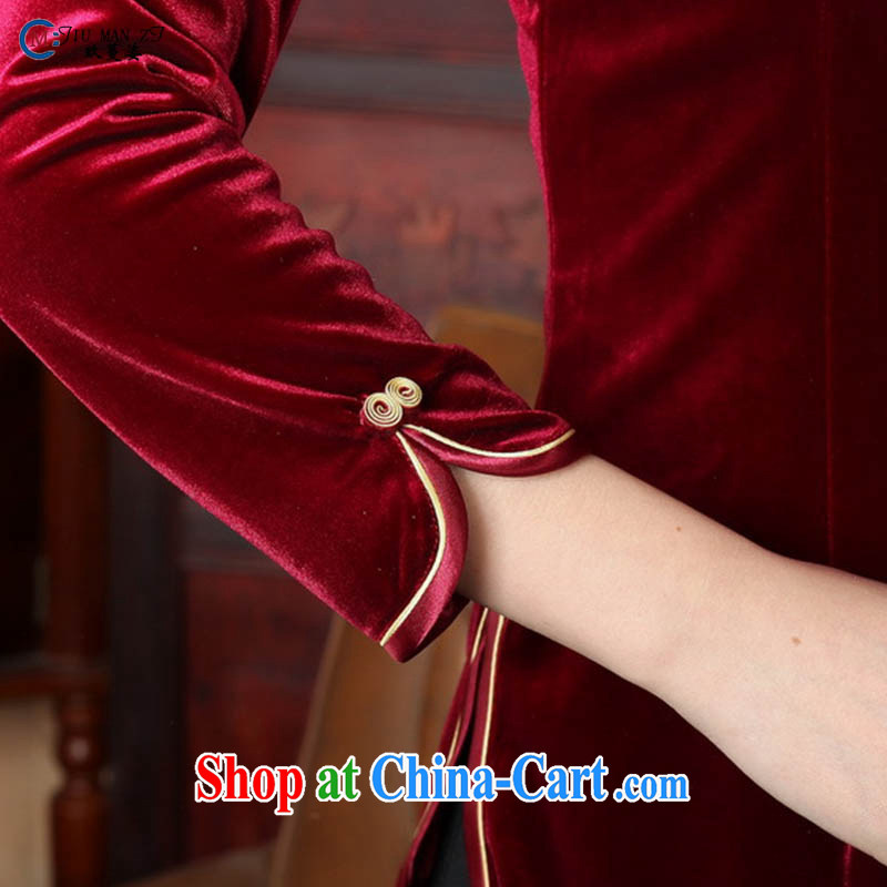 Ko Yo Mephidross 201 colorful new Spring Summer classic, short-sleeved velvet cheongsam Chinese-buckle Tang fitted T-shirt A 0064 deep red 180/3 XL, capital city sprawl, shopping on the Internet