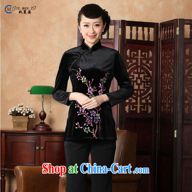 Ko Yo vines into exciting and 2015 new spring and summer, short-sleeved stamp velvet cheongsam quality female T-shirt Chinese A 0065 black 180/3 XL