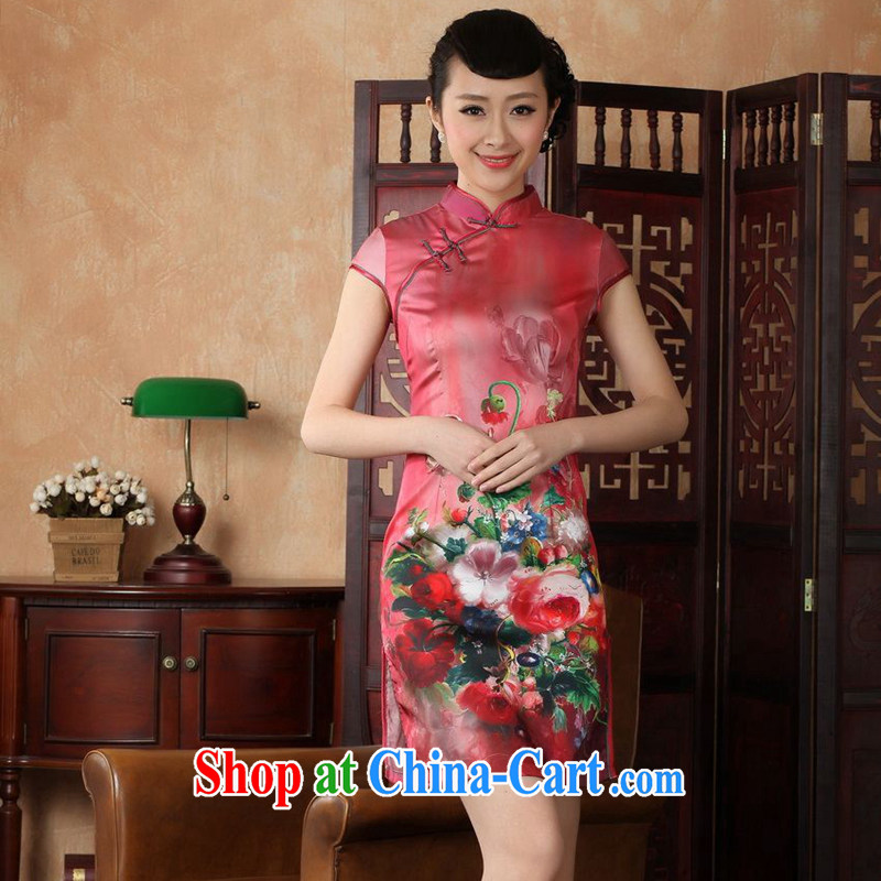 Take the 2014 summer new female Chinese improved, for a tight damask hand-painted Chinese Antique short cheongsam D 0230 - A red L