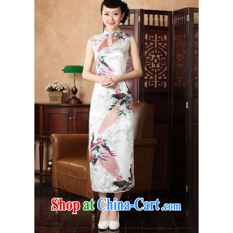 Take the 2014 summer new female cheongsam Chinese improved the collar damask hand-painted Chinese Antique Peacock long cheongsam J 146 5115 2 XL