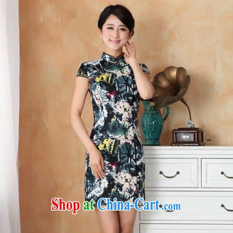 Take the 2014 summer new Chinese improved, for the hard-pressed Chinese qipao hand-painted retro mini cheongsam LF - 2 water color 2 XL, spend, and, on-line shopping