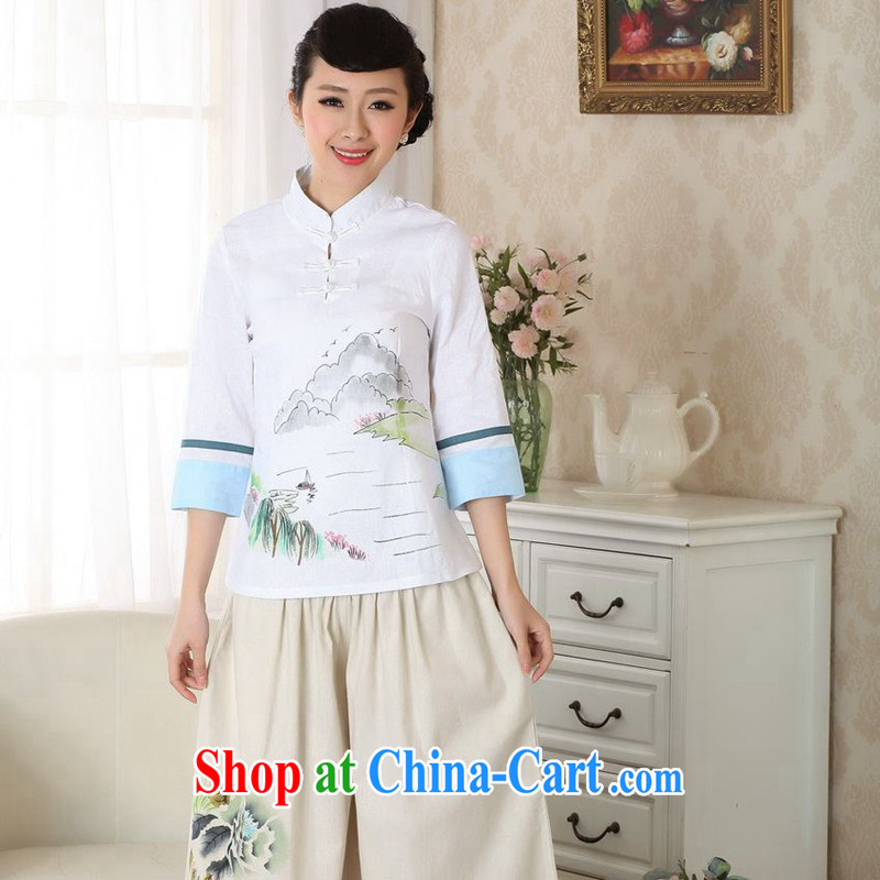 spend the summer new hand-painted Chinese T-shirt cotton the Chinese Ethnic Wind blouses Tang with improved version 0060 A XL
