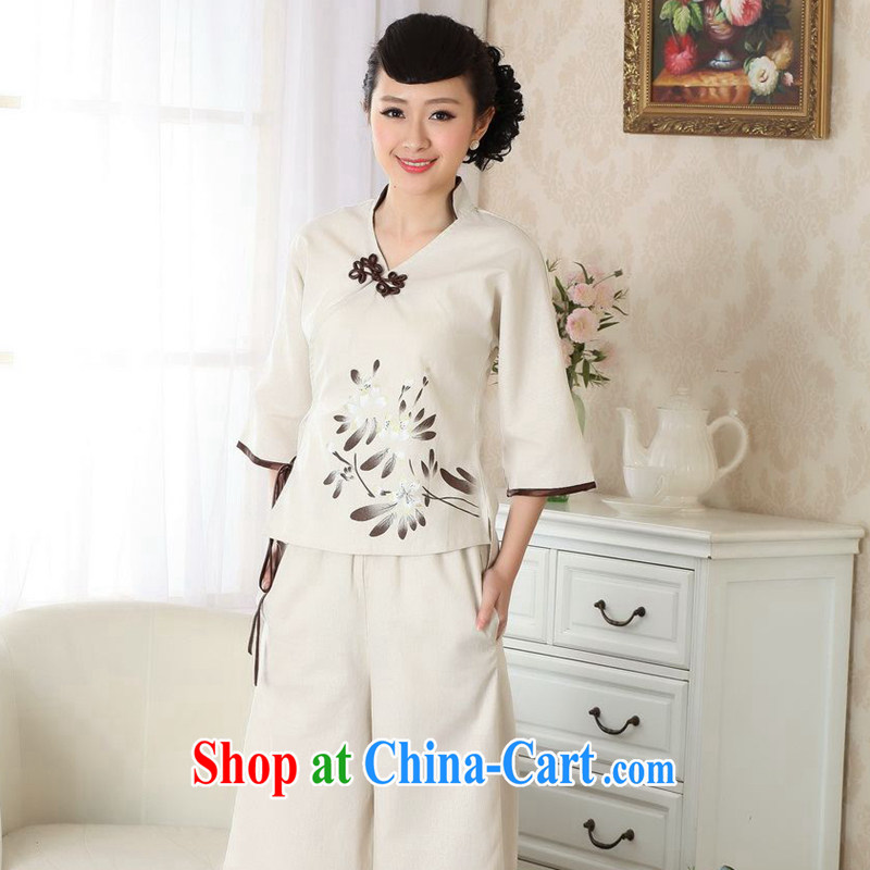 Take the 2014 new dresses T-shirt cotton the linen Chinese Ethnic Wind blouses Tang discs for improved version L A XL 0054