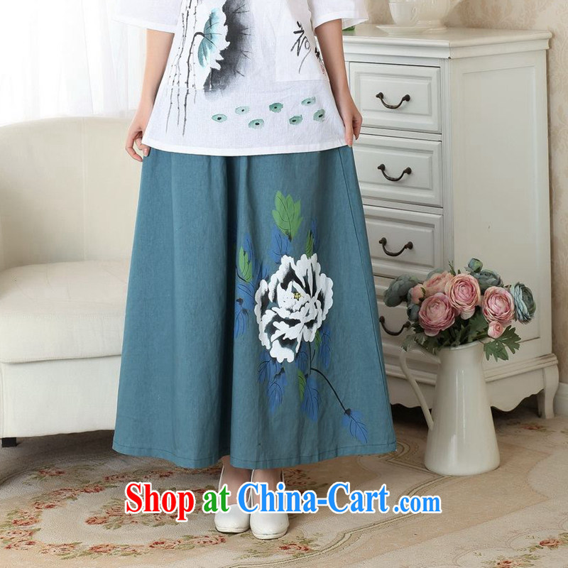 Take the 2014 new summer hand-painted dresses China wind retro-bag Elasticated waist large long skirt hand-painted body skirt P P M 0010