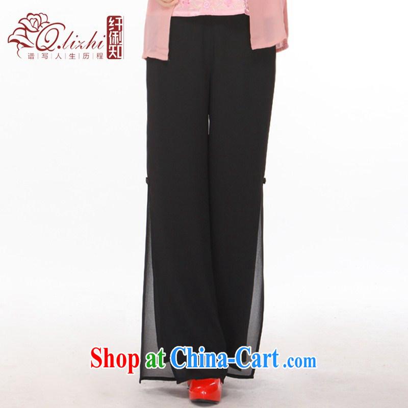 Slim li know Tang pants, pants, older MOM pants snow woven ground 100 Tang women pants black XXXXL