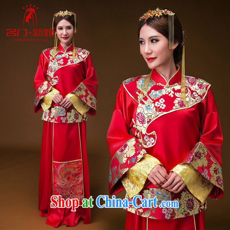 The bride's 2015 new show reel Service Manual embroidery Peony show groups serve two piece set with 659 qipao XS