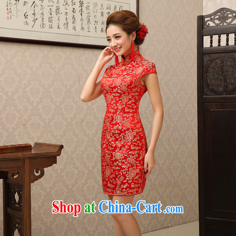 Rain is still clothing bridal wedding dresses wedding dresses 2015 new summer red stylish improved traditional marriage toast clothing short skirt QP 497 red XL, rain still Yi, shopping on the Internet