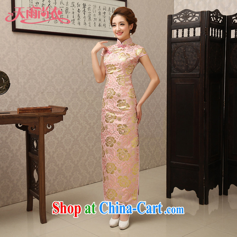 Rain is still Yi Chinese bows serving traditional mom with long marriage short-sleeved cultivating silk pink bridal dress spring and summer dresses QP 493 pink Suzhou shipping XL