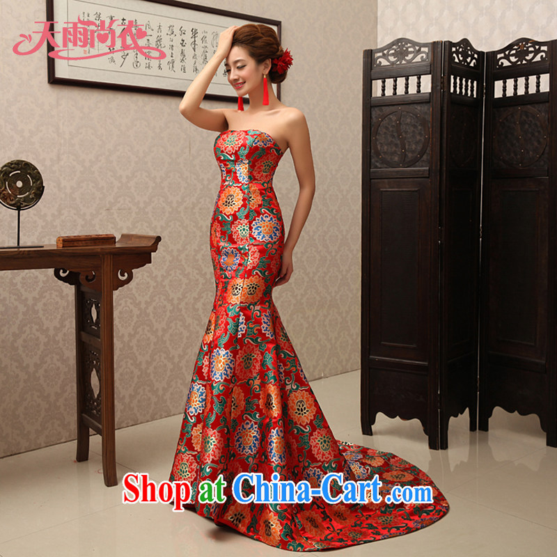 Rain is still Yi 2015 new Chinese-style dress uniform toast wedding dresses wedding dresses new toast Service Bridal erase chest crowsfoot QP 495 red XL