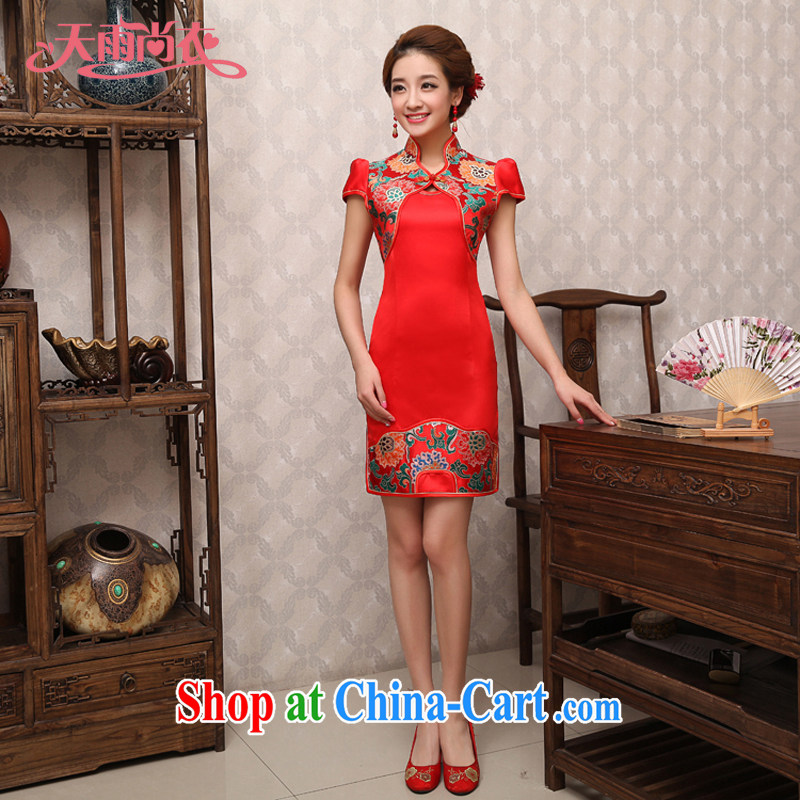 Rain is still clothing new 2015 summer dresses bridal improved stylish red short-sleeved beauty graphics thin Chinese wedding dress uniform toast QP 494 red XL