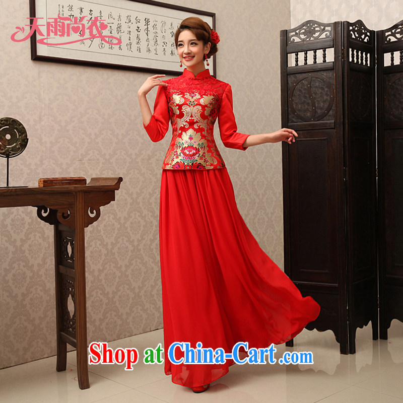 Rain is still Yi 2015 new dresses bridal red improved modern Chinese wedding toast in his dress cuff use phoenix Kit QP 488 red XL