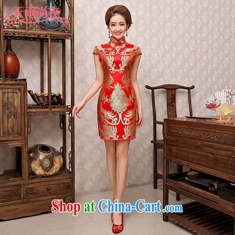 Rain is still clothing bridal wedding dresses wedding dress cheongsam red short improved Chinese bows clothing qipao QP 483 red L