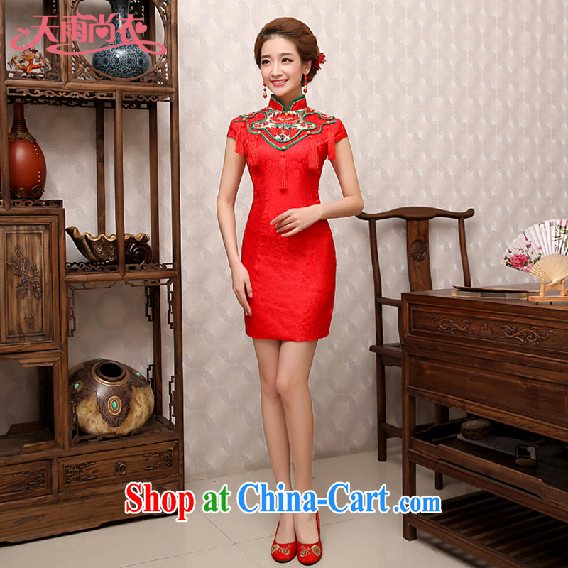 Rain is still Yi 2015 new wedding dresses summer short Chinese wedding improved stylish bridal toast clothing beauty graphics thin QP 481 red XL