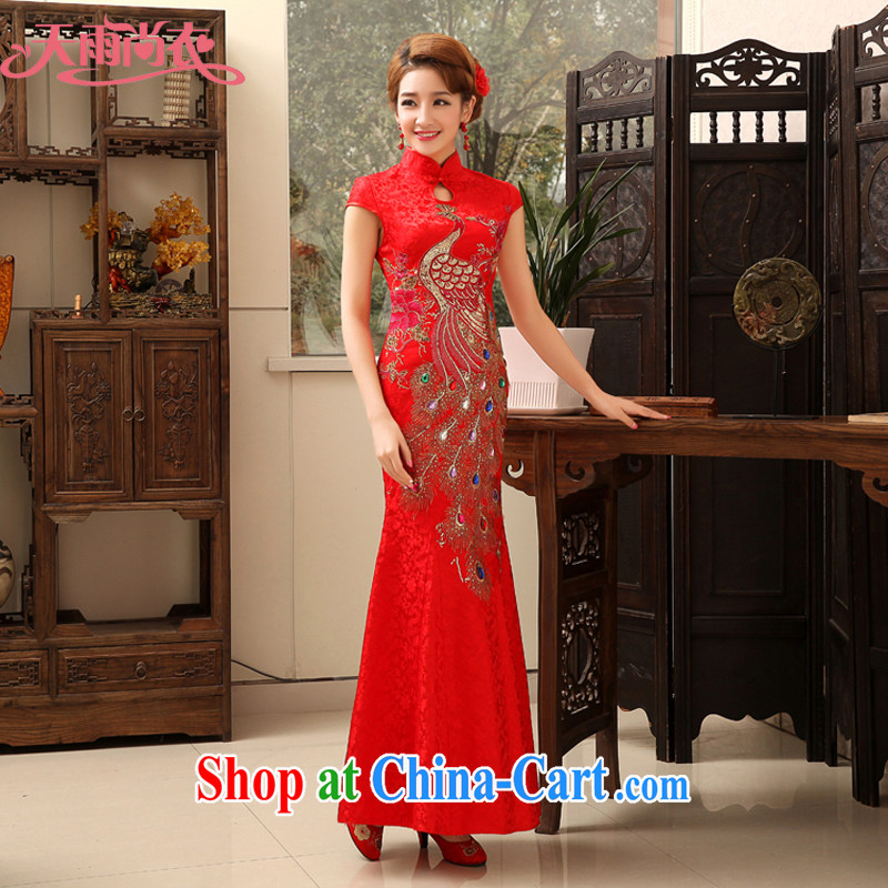 Rain is still clothing 2015 fashion spring Phoenix cheongsam dress, long red brides with wedding dresses skirt summer elegant toasting QP serving 477 red XL