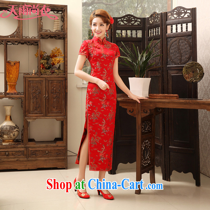Rain is still Yi marriages long cheongsam high on the truck beauty dress classic embroidered uniforms etiquette serving the hotel concierge service toast clothing qipao QP 474 dark red XL