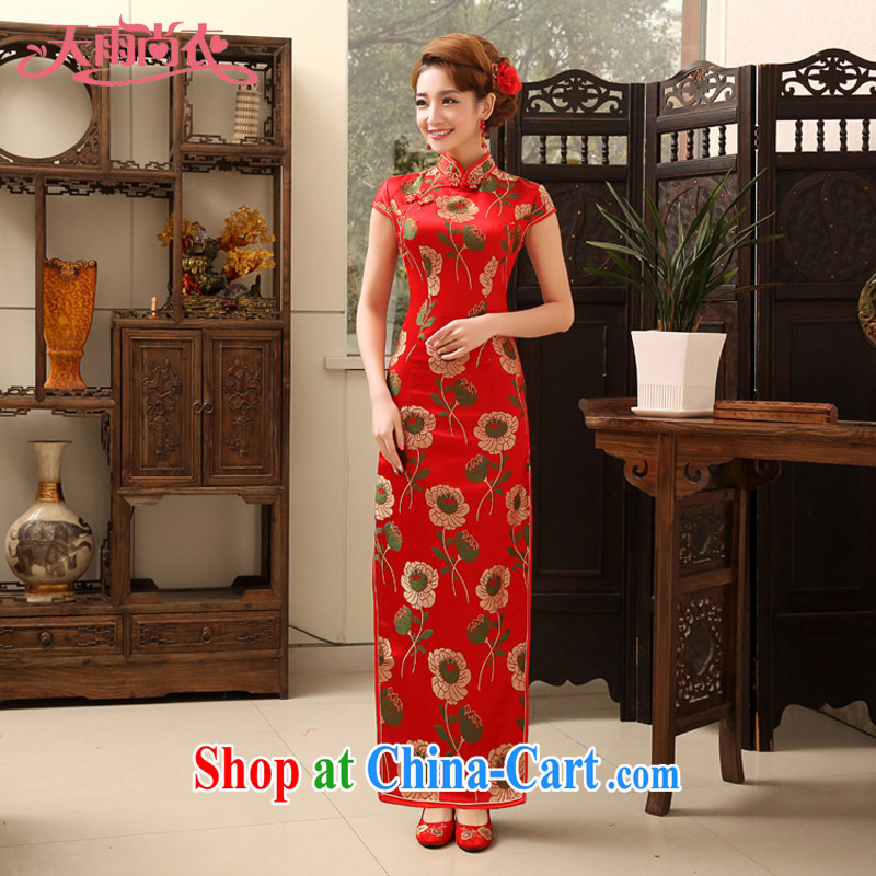 Rain is still clothing bridal wedding dresses wedding dresses red long dresses, Retro improved bows Service Bridal cheongsam dress QP 472 red L
