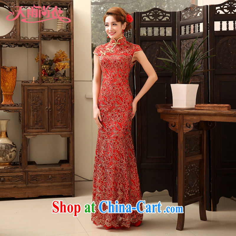 Rain is still clothing bridal new 2015 wedding dress red retro improved stylish dresses with bows crowsfoot service graphics thin cheongsam QP 471 red S