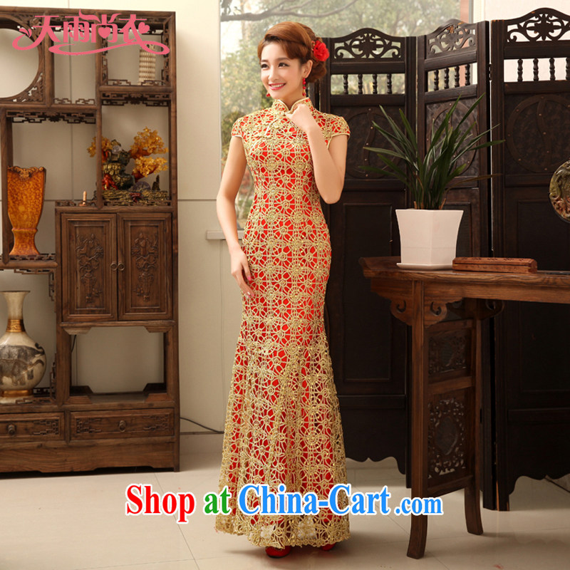 Rain is still Yi new bride wedding wedding dress lace, with toast wedding clothes crowsfoot cheongsam QP 470 yellow XL