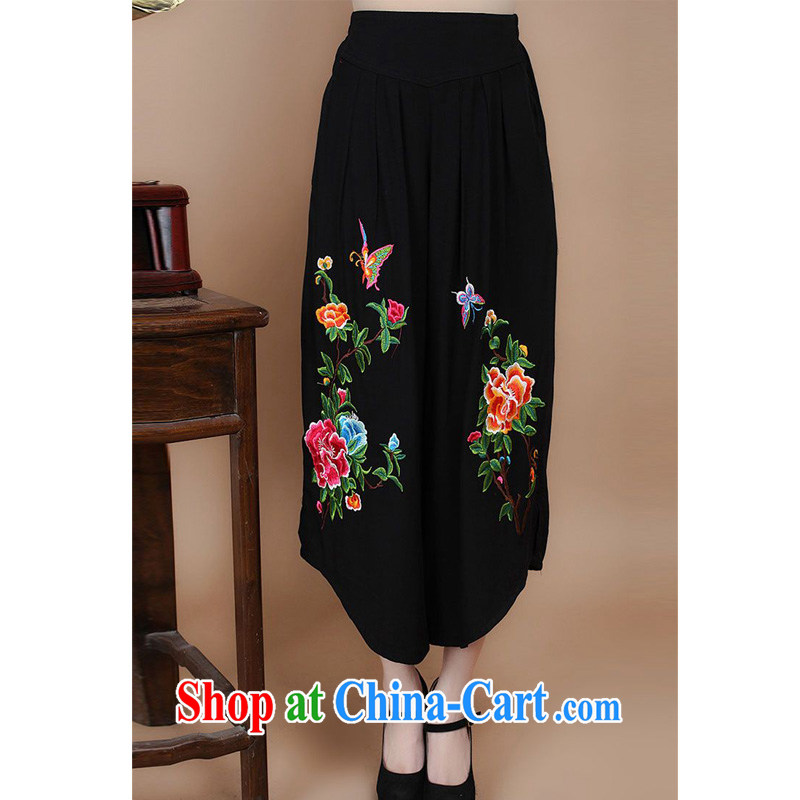 Forest narcissus 2014 spring and summer new embroidered Elasticated waist loose the code Tang replace pants FGR - B 210 black XXXL