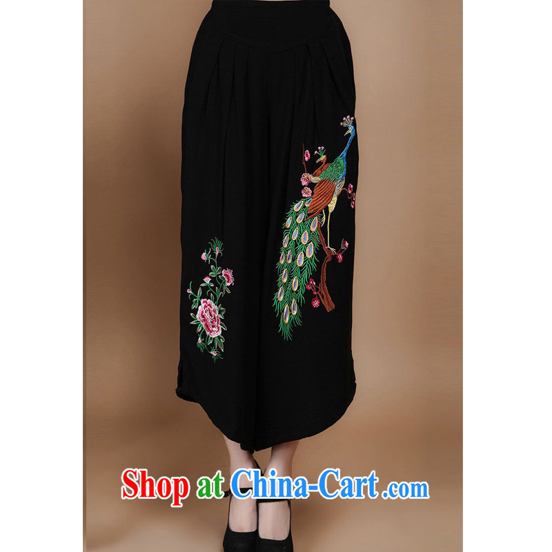 Forest narcissus 2014 spring and summer new loose larger Tang with soft Peacock embroidered trousers FGR - B 925 black XXL