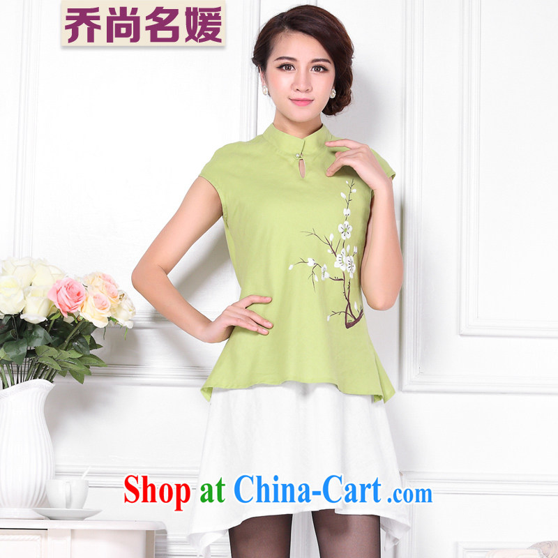 The original national wind improved cotton Ma T-shirt girl retro leave two linen short-sleeve shirt C 426 green XXL