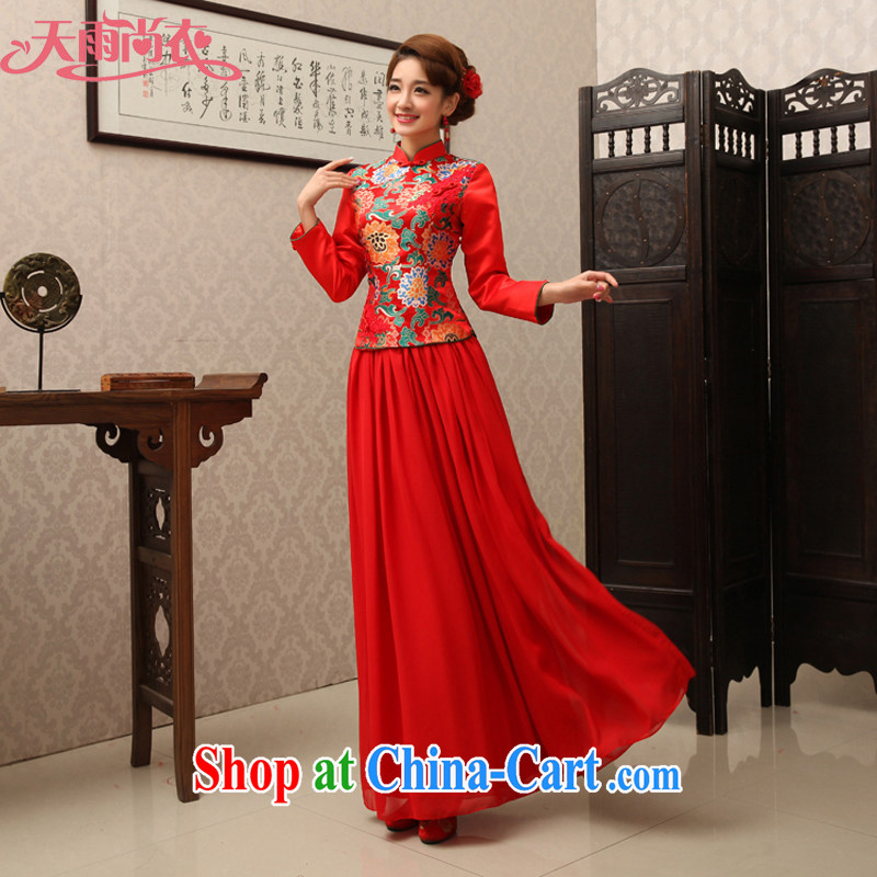 Rain is still clothing wedding dress toast clothing snow woven Chinese red long-sleeved long bridal advanced Brocade round ends improved cheongsam QP 487 red XL