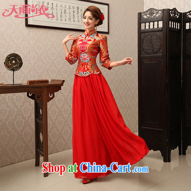 Rain Coat yet marriage wedding dresses cheongsam dress retro improved red bridal 7 cuff toast clothing spring Chinese long cheongsam QP 463 red XL