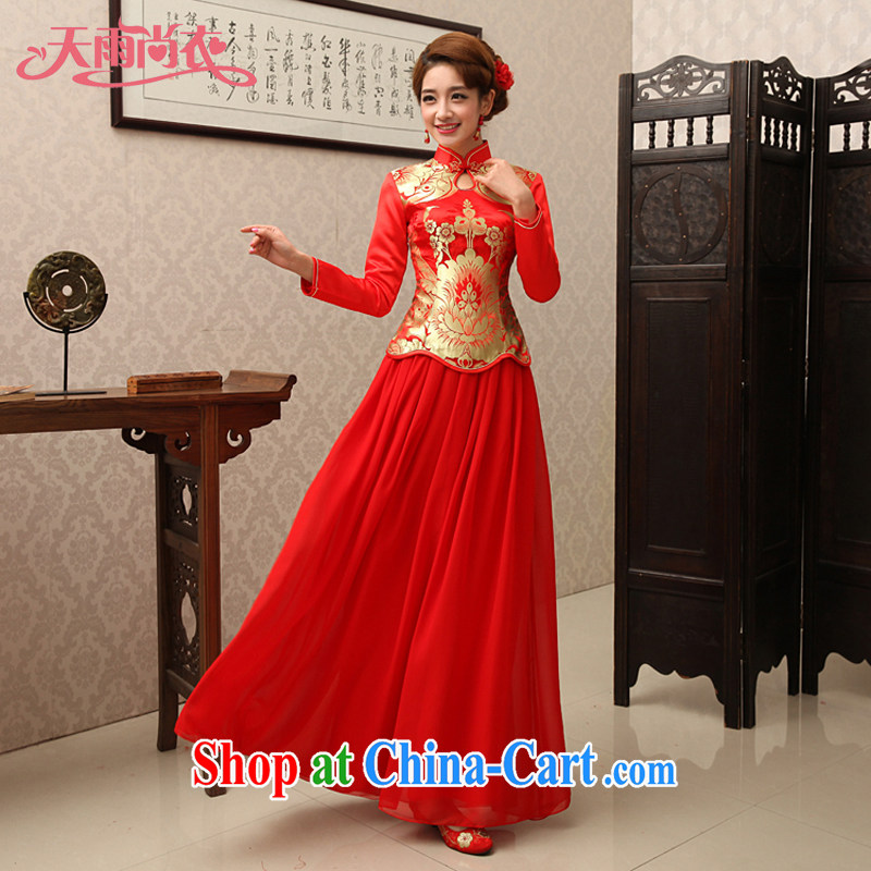 Rain is still Yi new bride wedding dress long skirt toast serving long-sleeved wedding package Red Snow woven dresses package QP 461 red XL