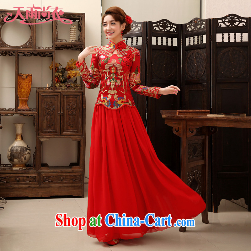 Rain is still Yi spring bridal wedding dresses wedding dresses 2015 new autumn and winter clothing toast back door skirt Red Snow woven package dresses QP 458 red long-sleeved XL
