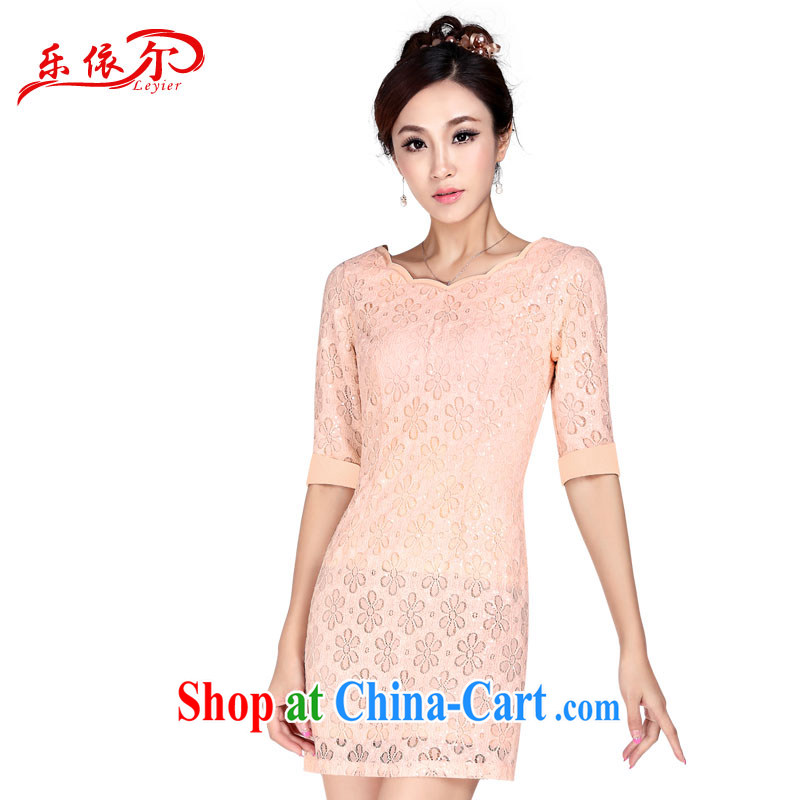 And, in accordance with new sleeves in dresses spring and summer retro improved fashion cheongsam dress beauty graphics thin elegant 2015 pink cuff in XL
