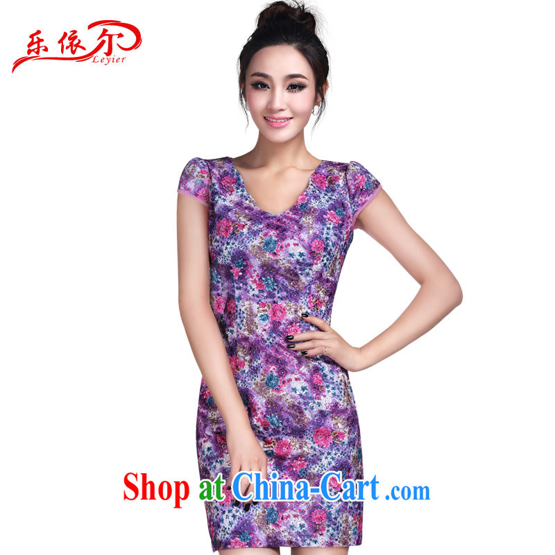 And, in accordance with new stylish short-sleeve dress girls elegant floral personalized dress summer 2015 beauty graphics thin floral S